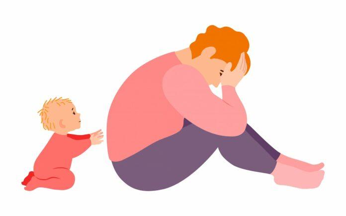 post partum : dessin maman triste
